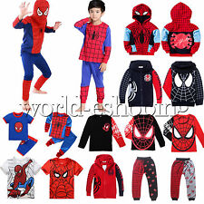 Kids Baby Boy Spiderman Clothes Hooded Tops T-shirt Pants Outfit Cosplay Costume