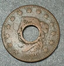 1829 Coronet Hair Large Cent Penny- Holed Through Center Heirloom Copper Coin