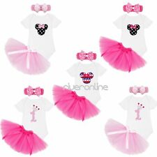 1st Birthday Party Baby Infant Girl Romper Tulle Skirt Outfit Minnie Clothes Set