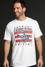 Cowboy Up Mens White Cotton S/S T-Shirt 8 Seconds to Fame Flag