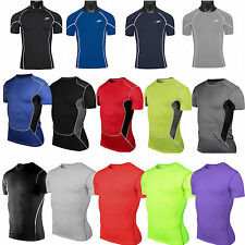 Compression Under Base Layer Mens Short Sleeve T-Shirt Sport Fitness GYM Tee Top