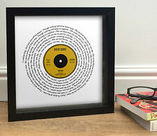 DAVID BOWIE HEROES Vinyl Single Style Song Words Print || Tribute || Framed Disc