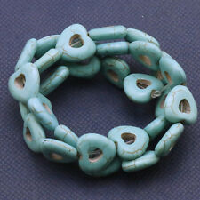 Wholesale Natural Turquoise Gemstone Heart Spacer Loose Beads 15.5''