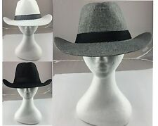 Adults Mens Hat Wide Brim Cowboy Hat Summer Sun Hat Dress Up Black/ White/Grey