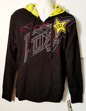 FOX RACING ROCKSTAR TO FINISH  ZIP FRONT FLEECE HOODY BLACK Med. $79.50 Retail