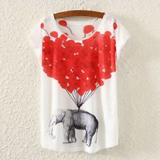 Women Ladt Animal Printed Short-sleeved T-shirt Bat Sleeve Top Cloth Fashion New