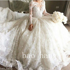 White Ivory Lace Wedding Dresses Puffy Long Skirt Long Sleeves Bridal Ball Gowns