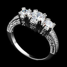 Jewelry 10KT Size 6-9 Wedding Band Ring White Gold Filled White Sapphire Ring