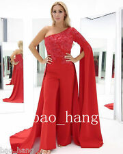 Fashion Red One Sleeve Prom Party Pant Outfit Formal Evening Dresses Gown Custom