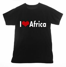 Africa t shirt I love Clothing Tee T-shirt Heart Basic Cotton African wildlife