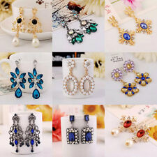 1 Pair Women Bridal Vintage Style Fashion Rhinestone Dangle Stud Earrings