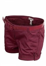New Ladies Belted Turn Up Shorts Hot Pants Burgundy Womens Size