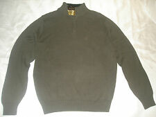 Northcrest mens sweater sherpa lined mock neck, 1/4 zip front color Olive/grey
