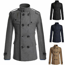 Mens Double-breasted Lapel Collar Trench Coat Jacket Peacoat Parka Top Outerwear