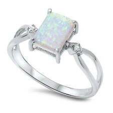 925 Sterling Silver WHITE AUSTRALIAN OPAL & CZ All Sizes Available SIZE 8 Ring