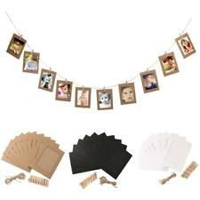 """10 Kraft Paper Photo Flim Frame DIY Wall Picture Hang Album Stand Clips Rope 6"""""""
