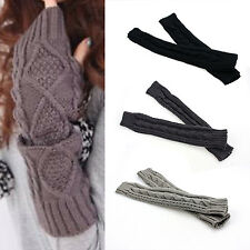 Fad Womens Cashmere Protection Knitted Wool Long Fingerless Arm Warmers Gloves