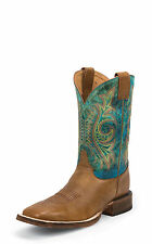 Justin Mens Tan Mottle Leather Western Boots 11in Bent Rail