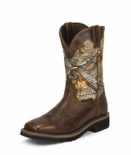 Justin Mens Tan Rugged Leather Work Boots 11in Stampede WP Camo