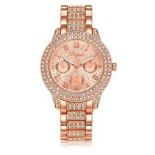 Womens Ladies Girls Fashion Rhinestone Crystal Golden Quartz Wrist Watch F1O3
