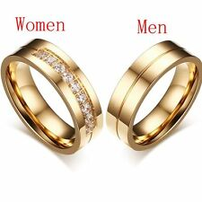 Couples Love Stainless Steel Cubic Zirconia 18K Gold Plated Wedding Band Ring