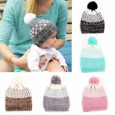 Boys Girls Wool Knit Beanie Winter Warm Pompom Ball Hat Baby Crochet Ski Cap