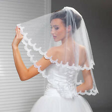 New 2T Handmade Elbow Lace Edge white & ivory Bridal wedding Veil with comb