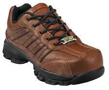 Nautilus Womens Steel Toe ESD Oxford M Brown Pebbled Leather Shoes