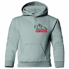 EMBROIDERED HORSE jumping over riders name personalised Adults equestrian hoodie
