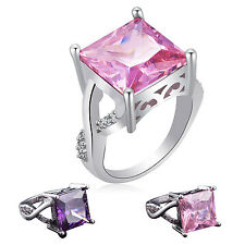 ALL Pink & White  Fashion Jewelry Gift For Women  Silver Ring Size 6 7 8 9 10 11