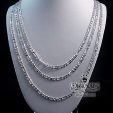 """MEN'S LADIES 925 STERLING SILVER FIGARO CUBAN LINK CHAIN NECKLACE 20""""~30""""X3MM"""