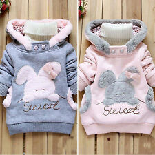 Kids Girls Baby Rabbit Winter Warm Fleece Hoodies Pullover Sweatshirt Top Coats
