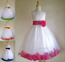 White and Ivory Flower Girl Dress with Rose Petal size 2-4-6-8-10-12-14