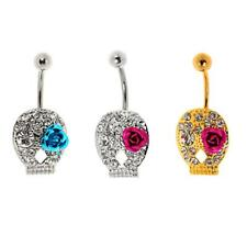Stainless Steel Navel Belly Ring Skull Button Buckle Barbell Piercing Jewelry
