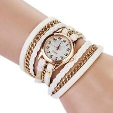 Vintage Women Girls Weave Wrap Leather Chain Bracelet Wrist Watch Jewelry Gifts