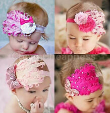 NEW Feather Flower Diamond Headband Baby Girl Hairband Shower Photo Prop HFCA