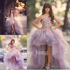Purple Girls Prom Pageant Gowns Birthday Party Hi-Low Flower Girl Dress Applique