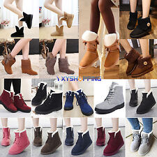 Womens Lady Girls Faux Suede Fur Lined Warm Ankle Boots Retro Winter Flat Shoes