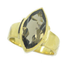 Smoky Quartz Gold Plated Ring teasing Brown gemstone AU K,M,O,Q