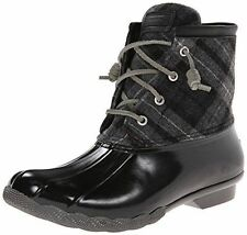 NEW SPERRY TOP SIDER SALTWATER PLAID BLACK GRAY  WOOL RUBBER DUCK BOOTS 6 M