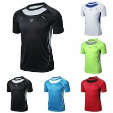 Mens Fitness Sports T-shirt Gym Muscle Quick Dry Stretch Tops Tee Shirt New