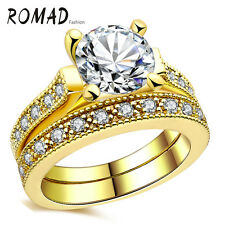 CZ Crystal 18K Gold Plated Wedding Ring Women Fashion Jewelry Fine Gift