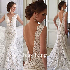 Open Back Mermaid Lace Bridal Gown Sleeveless 2016 New Wedding Dress V Neck Sexy
