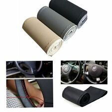 1* PU Leather DIY Car Auto Steering Wheel Cover 38cm With Needles and Thread