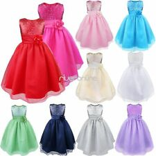 Flower Girls Sequined Princess Tulle Dress Wedding Pageant Party Prom Ball Gown