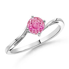 Natural Round Pink Sapphire Solitaire Ring 14k White Gold Women's Size 3-13