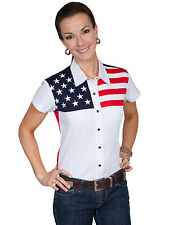 Scully Western Womens White 100% Cotton S/S USA Flag Western Shirt