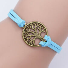 Gifts Jewelry Hand-woven Rope Chain Metal Tree Bracelet Leather Bracelet