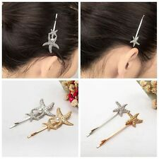 Gold/Silver Alloy Xmas Gifts Hair Clip Starfish Pearl Hairpins Barrettes
