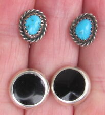 2 VINTAGE ESTATE STERLING SILVER TURQUOISE ONYX POST EARRINGS SOUTHWESTERN LOT